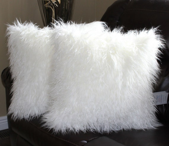 Faux Fur Mongolian White Pillow Cover 18 X 18 In Set Of 2