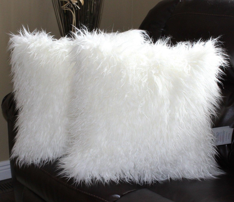 White Decorative Pillow Set : Mongolian White Faux Fur 18 x 18 in. Throw Pillow Set by Salvani