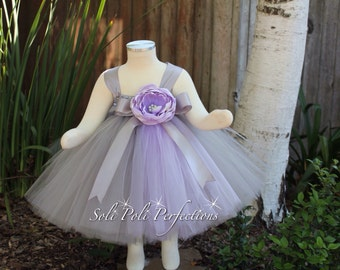 Grey and Lavender Party Dress, Flower Girl Dress, Birthday Tutu, Purple Tutu Dress, Tutu Dress