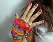 Handflower-Beaded Crochet Cuff - Turkish Lace - Colorful Beaded Crochet Bracelet and Flower Patterns - Cotton Yarn Bracelet -