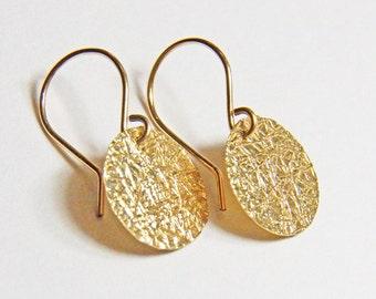 Round Gold Dangle Earrings - Textured 14K Gold filled disks - Minimal design