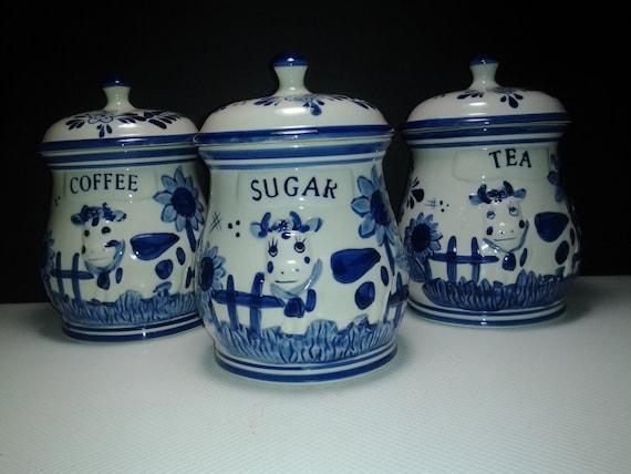 Delft three rare vintage blue Delft deco cow kitchen pottery