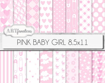 "Baby girl papers ""PINK BABY GIRL"" 8.5x11, white and pink background, diaper pin, pink hearts, gingham, clouds, footprints, carriage, daisy"