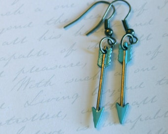 Antique Gold and Teal Painted Tribal & Archery Inspired Arrow Dangle Earrings