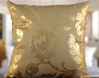 Decorative pillow, throw pillow, flower, shiny, gold, metallic, home decor, home & living, gold metallic, shiny gold pillow, gold pillow