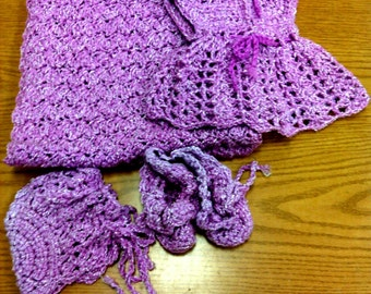 shimmery lavendar preemie dress sweater set
