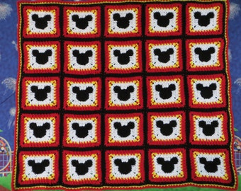 Pattern Mickey Mouse Blanket.  Great for a Shower or Baby Gift.  Can be made into any size blanket for child or adult.  ****Pattern Only****