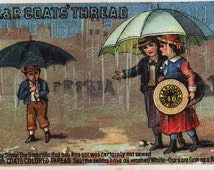 Originat Vintage Adverting Card -  J and P Coats thread cards- Children in a rain