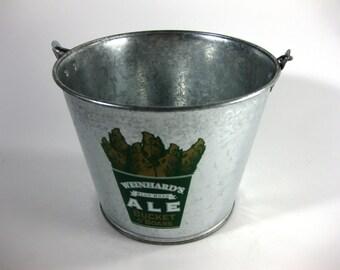 Vintage Weinhard's Boar's Head Glavanized Beer Bucket ~ Blue Boar Ale ~ Galvanized Beer Bucket