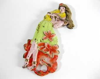 Cast Iron Painted Hawaiian Girl Lady Bottle Opener ~ Bar Accessories ~ Great Gift