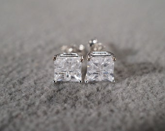 Vintage Sterling Silver 2  Square Cubic Zirconia Classic Prong Set Stud Style Pierced Earrings      #02