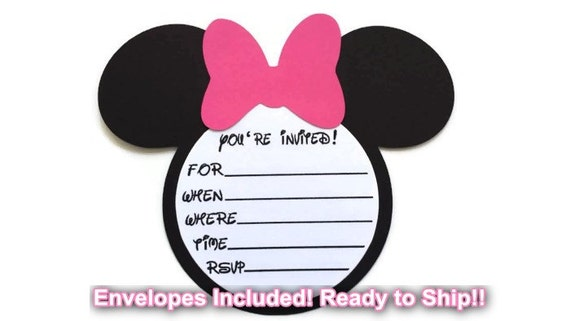 15 diy minnie mouse birthday invitations with envelopes, Birthday invitations