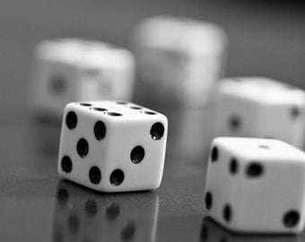 Game room wall art, Canvas art, Black and white wall art, Still life photography // Dice