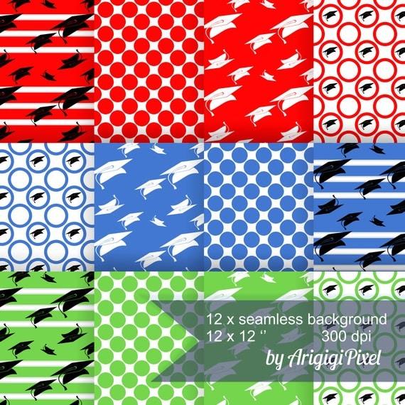 Graduation Digital Background - collage sheet - set of 12 - download