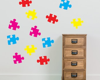 Kids Jigsaw Wall Stickers Kids Nursery Play Room Home Art Decoration Children Decals Removable Handmade School Bedrooms New Bright VC-A27