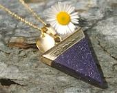 Ambition Blue Goldstone Triangle Necklace - Love, Affection, Calming, Pendant, Flag, Blue Goldstone, Ambition, Success, Leaf