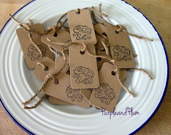 16 mini thank you tags, kraft card, stamped