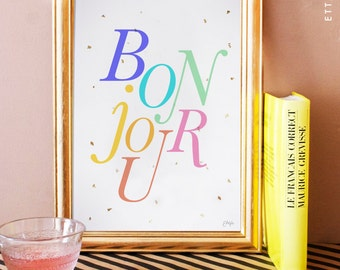 bonjour art print color. french art print. french home decor. typographic poster. typography.