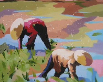 "original acrylic painting, rice field, vietnam, ""Life grains"", free shipping"