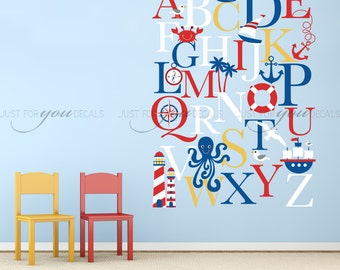 Alphabet Wall Decal - Alphabet Decal - Nautical Nursery Wall Decals - Playroom Wall Decal - Play Room Wall Decal - Wall Sticker - 01-0035c