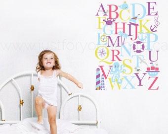 Alphabet Wall Decal - Alphabet Decal - Nautical Nursery Wall Decals - Playroom Wall Decal - Play Room Wall Decal - Wall Sticker - 01-0035e