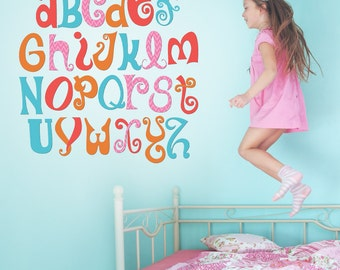 Girls Room Wall Decal - Alphabet Nursery Wall Decal - Playroom Wall Decal - Groovy Wall Decal - Wall Decal - Retro Wall Decal - 01-0022