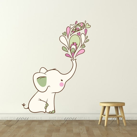 Elephant wall decal nursery wall decal playroom wall decal for Funny elephant wall decals for nursery