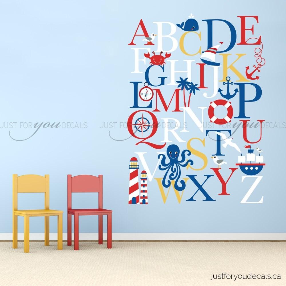 alphabet wall decal alphabet decal nautical nursery wall. Black Bedroom Furniture Sets. Home Design Ideas