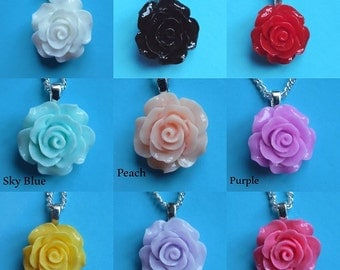 "rose flower pendant necklace,silver plated ,15"",16"",18"",colour option,,18mm"