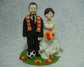 custom fan soccer bride and groom wedding cake topper