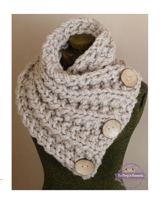 Knitting Patterns For Big Scarves : THE LANCASTER SCARF Chunky Hand Knit Scarf in Neutral Tan