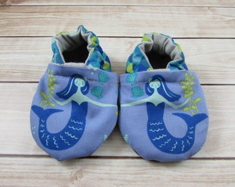 Baby Shoes, Mermaid Booties, Girl Shoes, Blue Green Soft Sole Shoes, Jubilee Tula Accessories,