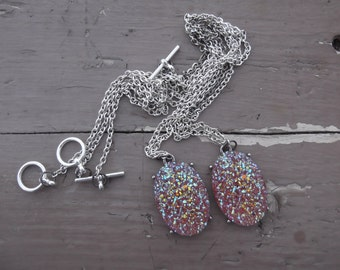 Handmade Pink Glittery Oval Best Friend Necklaces