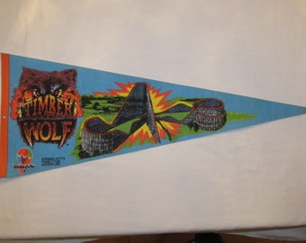 TIMBER WOLF Roller Coaster Pennant