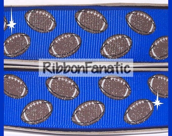 """5 yds 7/8""""  Bright Electric Blue Grosgrain Ribbon with Brown Glitter Footballs"""