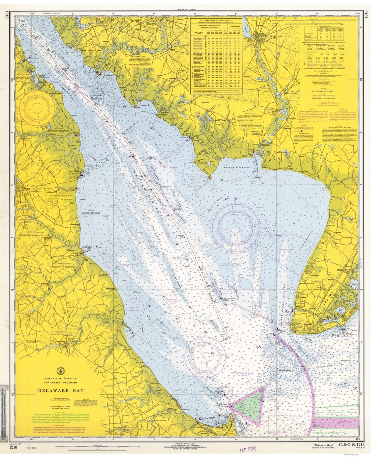 Delaware Bay 1967 New Jersey Amp Delaware Nautical Map By Oldmap