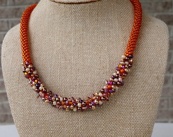 Bright Orange Statement Kumihimo Necklace - Fall colors