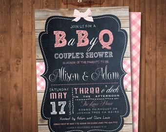 Baby Q Baby Shower invitation. Barbecue Chalkboard Invitation. Girls and boys. DIY card. Digital Printable card