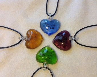 Glass Heart (with Foil) Necklaces with Black Cord