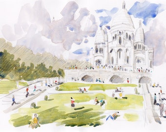 Paris original watercolor original Paris painting Sacré Coeur Paris watercolor landscape Paris french art Paris original cityscape