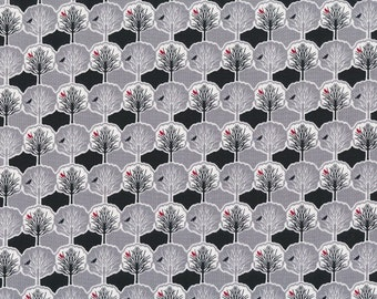 HALF YARD Quilting Cotton - Dear Stella Trees with Birds - Town and Country - Grey Black White Red