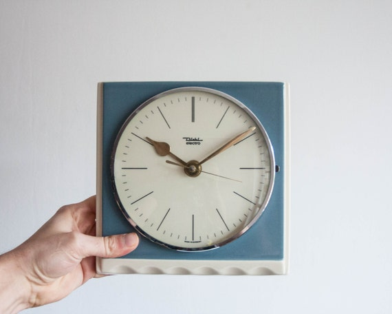 blue kitchen clock ceramic electronic wall clock vintage