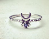 Hand Carved Inanna Ring in Sterling Silver with Star Set Blue Sapphire