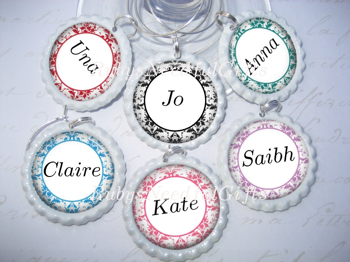 personalised wine glass charms bottlecap wine glass charms