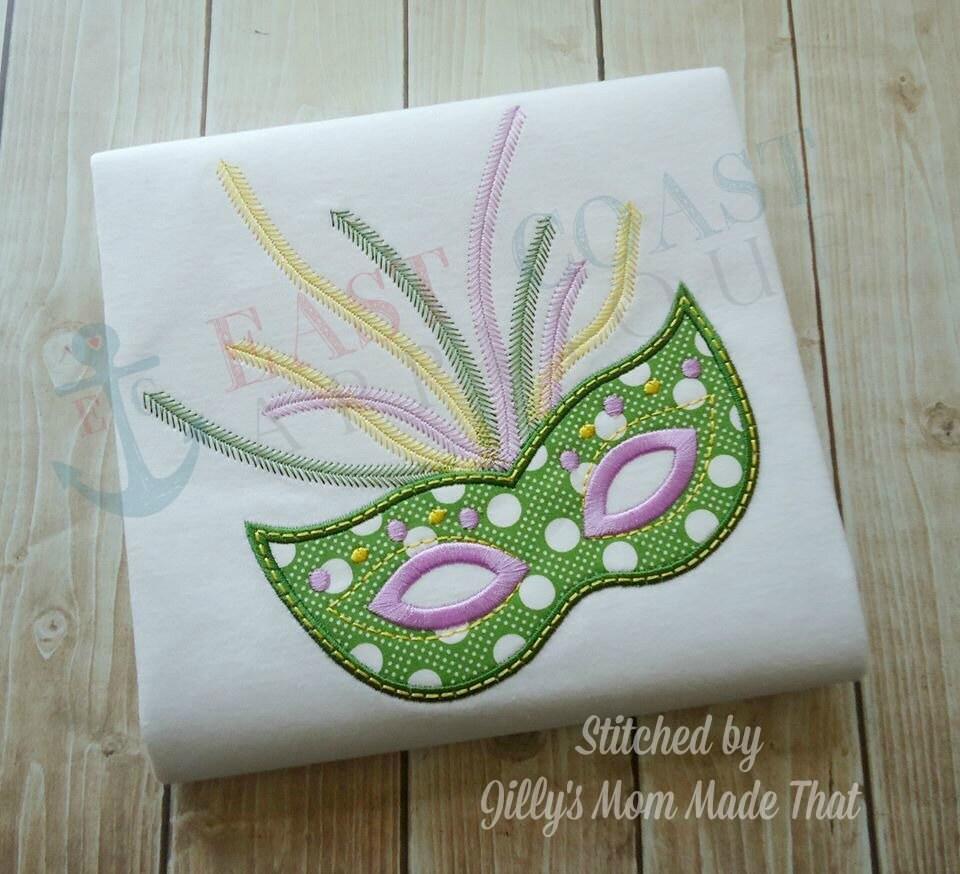 mardi gras mask machine embroidery design. Black Bedroom Furniture Sets. Home Design Ideas
