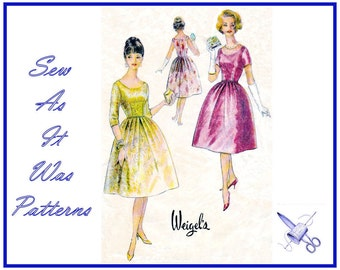 """FF 1950s Flared Bell Pleated Skirt Dress Low Scoop Neckline Fitted Bodice Sleeves Sleeveless Vintage Sewing Pattern Weigel's 2089 Bust 36"""""""