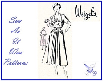 1940s Madame Weigels 1264 Draped Neckline Day Dress Gathered Shaped Collar Sleeves Pockets Vintage Sewing Pattern Large Plus Size Bust 38""