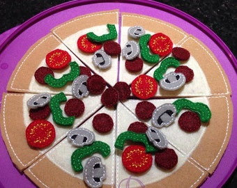 Pizza and Toppings  Embroidery ITH Design  with PDF Tutorial