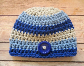 Crochet BLUE STRIPED Hat, Preemie, NEWBORN to 12 months, Baby Boy Photo Props, Shower Gift, baby's 1st hat, hospital hat, blue, gray