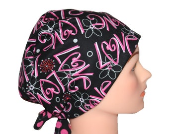 Scrub Hat Surgical Scrub Cap Chemo Vet Nurse Dr Hat European Pixie European Style Love Hearts Black Pink Dots 2nd Item Ships FREE